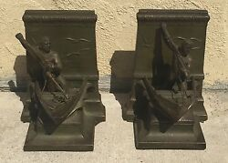 ANTIQUE BRONZE ? JB JENNINGS BROTHERS BOOK ENDS