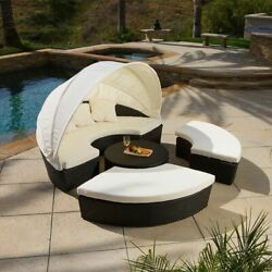 Outdoor Patio Furniture 4pcs All-weather Wicker Sectional DaybedSofa Set