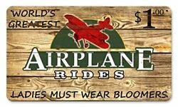 Airplane Rides $1 Vintage Metal Sign 14quot; x 8quot; Steel $24.95