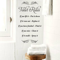 Toilet Rules vinyl wall bathroom Art sticker transfer home decoration MADE IN UK GBP 9.34