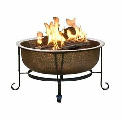 Copper Vintage Fire Pit Outdoor Patio Wood Burning Backyard Spark Fireplace
