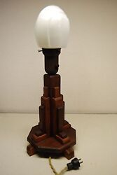 ART DECO INDUSTRIAL WOOD GLASS  ARTS & CRAFTS VINTAGE ANTIQUE TABLE DESK LAMP