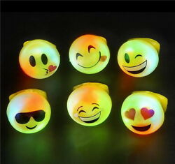 50 WHOLESALE LED LIGHT UP FLASHING EMOJI RINGS EMOTICON JELLY RING PARTY FAVORS