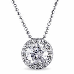 Amour 14k White Gold Certified Diamond Solitaire Necklace