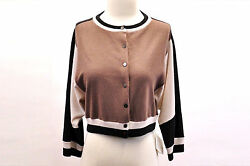 NWT$3140 Brunello Cucinelli Women's 100% Cashmere Cropped Color-Block Cardigan M