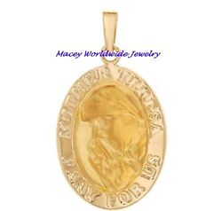 14K Gold Mother Theresa Pray For Us Pendant Only $149.99