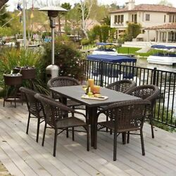 Outdoor Patio Furniture 7pcs Brown All-weather Wicker Dining Set