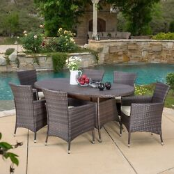 Outdoor Patio Furniture 7pcs Brown Wicker Dining Set w Cushions
