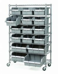 Shed Storage Rack On Wheels Commercial 7 Shelf 16 Bin System DIY Tools Paints