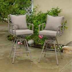 Outdoor Patio Furniture Set of 2 Adjustable Height Swivel Bar Stools w Cushions