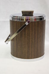 Vintage Mid Century KROMEX Walnut & Chrome Steel Ice Bucket & Butter Dish wBox