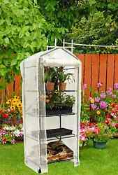 4-Tier Flower Herb Shelves Portable Mini Greenhouse Plant Backyard Folding Stand