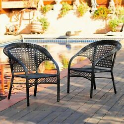 Set of 2 Outdoor Patio Furniture Luxury Black Wicker Chairs