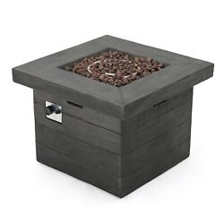 Outdoor Grey 32-inch Square Liquid Propane Fire Pit with Lava Rocks