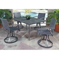 Home Styles Stone Veneer 5 Piece Dining Set Patio Sets Wrought Iron in Black