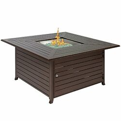 Aluminum Gas Outdoor Fire Pit Table With Coverin dark brown to your backyard