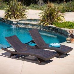 Outdoor Wicker Patio Garden Lounger Chairs Brown Pool Resort Lounge (Set of 2)