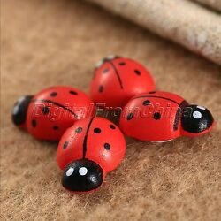 50Pcs Wooden Cute Mini 3D Art Animal Ladybird Ladybug Stickers Wall Crafts Decor
