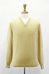 .NWT $1840 Brunello Cucinelli Men's Yellow V-Neck Cashmere Sweater Sz5040US