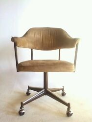 4 Vintage Faux Leather Dining Modern Chair Office Brass Swivel Clam Arm Baughman $299.95