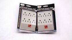 6 Outlet Wall Tap Grounded Indoor Power Splitter Converter 3 Prong Beige x2 $14.35