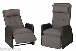 2 Recliner Wicker Lounge Cushion Chair Brown Pool Deck Patio Outdoor Seat Rocker