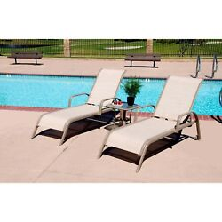 Westin Commercial Sling Patio Poolside Deck Porch Rear Wheels Lounge 2-Chaises