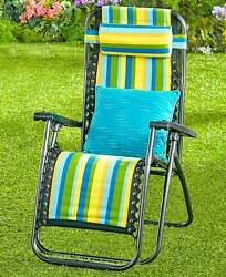 BLUE STRIPE ADJUSTABLE ZERO GRAVITY LOUNGE CAMP CHAIR REMOVABLE PADDED HEADREST