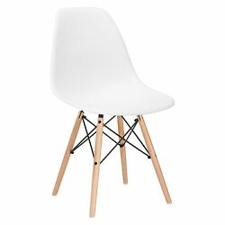 Poly and Bark Eames Style Molded Plastic Dowel-Leg Side Chair (DSW) Natural L...
