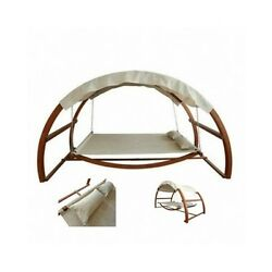 Hammock Swing Bed Porch Canopy Wood Swinging Outdoor Patio Furniture Daybed Pool
