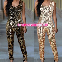 New Woman Sleeveless Geometric Sequin Celebrity Evening Party jumpsuit Rompers