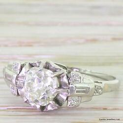 ART DECO 1.10ct OLD CUSHION CUT DIAMOND ENGAGEMENT RING - Platinum - c 1935
