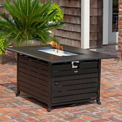 Fire Sense Rectangular Fire Pit Table with Cover Antique Bronze
