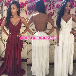 Women Summer Bandage Bodycon Lace Evening Sexy Party Cocktail Long Maxi Dress $25.88