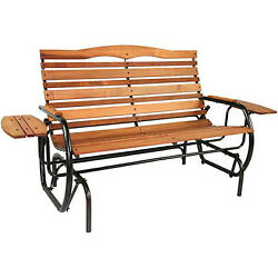 Outdoor Glider Bench with Tray Wood Garden Loveseat Porch Patio Furniture Chair