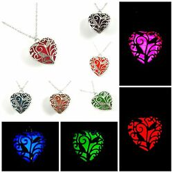Glowing Heart Necklace Glow in The Dark 925 Silver Necklace USA!