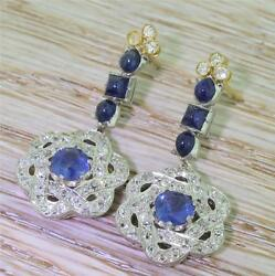 ART DECO NATURAL SAPPHIRE & OLD CUT DIAMOND DROP EARRINGS - 18k & Plat - c. 1925
