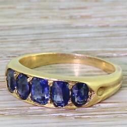 EDWARDIAN 1.70ct NATURAL UNHEATED SAPPHIRE FIVE STONE RING - 18k Gold - c 1910