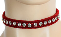 Gothic Red Velvet Rhinestone Choker Punk Goth Dance Wear Necklace Collar