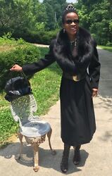 Designer Full length Regency Black cashmere wool Full Pelt Fox Fur Coat S-M 0-8