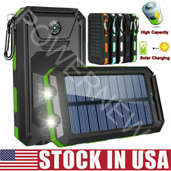 2021 Waterproof 2000000mAh USB Portable Charger Solar Power Bank For Cell Phone  $21.49