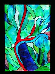 ABSTRACT BARRIER REEF Stained Glass LEADLIGHT FRONT DOOR  WINDOW Hand Crafted