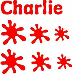 Personalised Name and Paint Splats Vinyl Stickers for boys or girls Bedrooms etc GBP 3.69