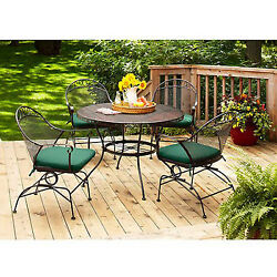 Patio Furniture Dining Set 5 Piece Outdoor Table and Chairs Green Cushion Sets