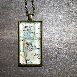 HOOVER DAM FORT MOJAVE LAKE MEAD NEVADA PARK Map Pendant necklace ATLAS