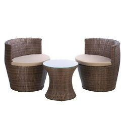 Faux Rattan Patio Set Wicker Table Chair Lounge Furniture  Outdoor Patio
