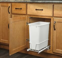 20 Quart White Trash Can Kitchen Waste Bin Garbage Pull Out Undercounter Cabinet $45.91