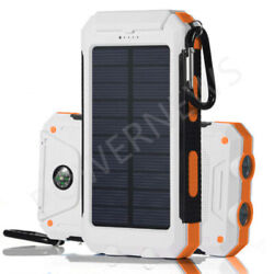 2021 Waterproof Solar Power Bank 9000000mAh Portable Battery Charger White New $16.49
