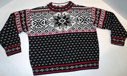 Hanna Andersson Black Red Ivory Nordic Fair Isle Sweater 5 6 7 Size 110 C-2