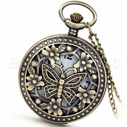 Vintage Hollow Butterfly Quartz Pocket Watch Necklace Pendant Chain Womens Gift $9.49
